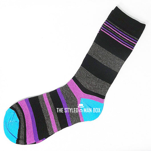 Men's Socks - Striped Black and Grey with Purple