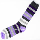 Men's Socks - Striped Purple and Grey