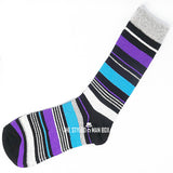 Men's Socks - Striped Purple and Blue