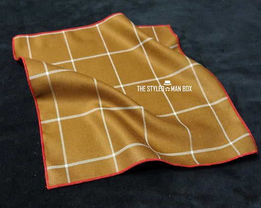 Pocket Square - Window Pane Camel-Colored