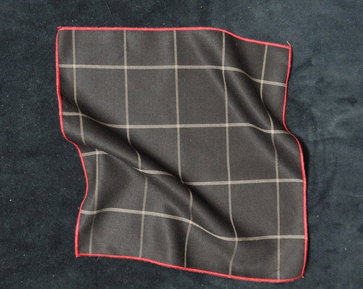 Pocket Square - Window Pane Brown