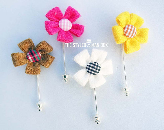Lapel Pin - Wool with Button Flower