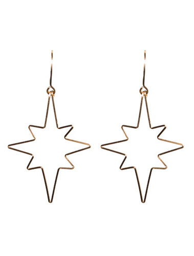 Open Star Gold Vermeil Light Weight Earrings - Topaz Jewelry