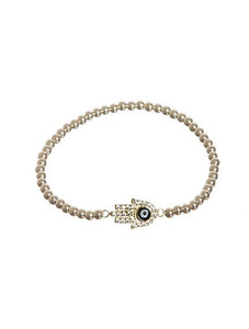 Gold Hamsa Stretch Bracelet - Topaz Jewelry