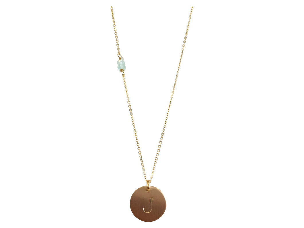 Initial J Necklace - Topaz Custom Jewelry