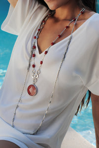 Red Jade Long Necklace, Long Silver Necklace Red Jade Pendant, Topaz Jewelry