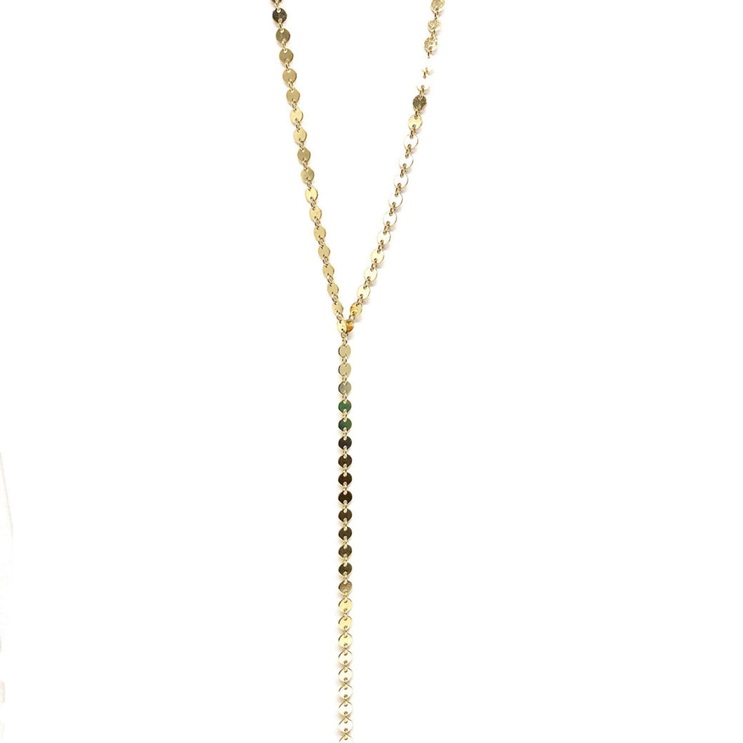 Disc Lariat Necklace,Dot Lariat Necklace - Topaz Jewelry