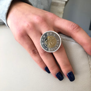Toonie Ring, Toonie Coin Ring, Canadaian Coin Ring, Statement Coin Ring, Topaz Jewelry