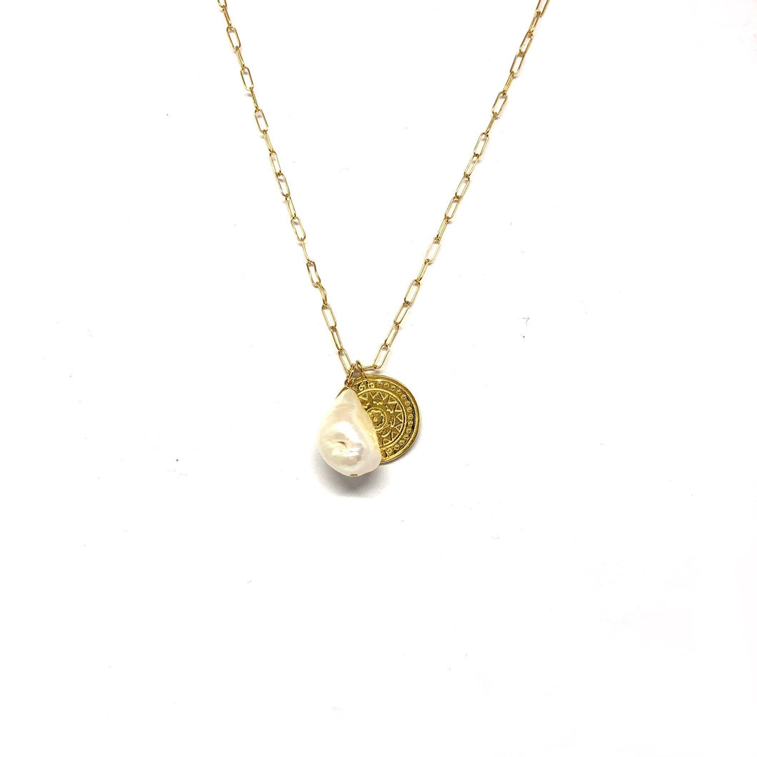 Pearl Disc Necklace,Baroque Pearl Necklace - Topaz Jewelry