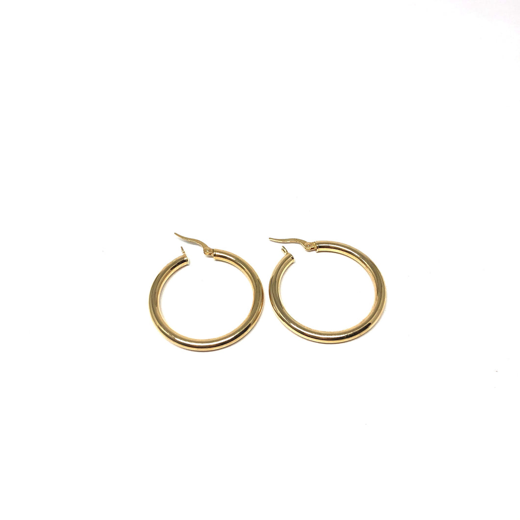 10K Gold Hoops Earring,31mm Gold Hoops - Topaz Jewelry