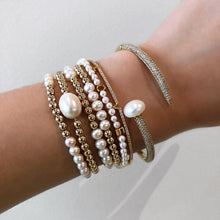 Load image into Gallery viewer, Gold Filled Pearl Bracelet,Pearls Stretch Bracelet - Topaz Jewelry