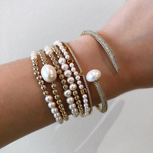 Gold Filled Pearl Bracelet,Pearls Stretch Bracelet - Topaz Jewelry