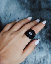 Load image into Gallery viewer, Black Mesh Ring, Black Statement Ring,Black Swarovski Ring, Black Eye Ring, - Topaz Jewelry