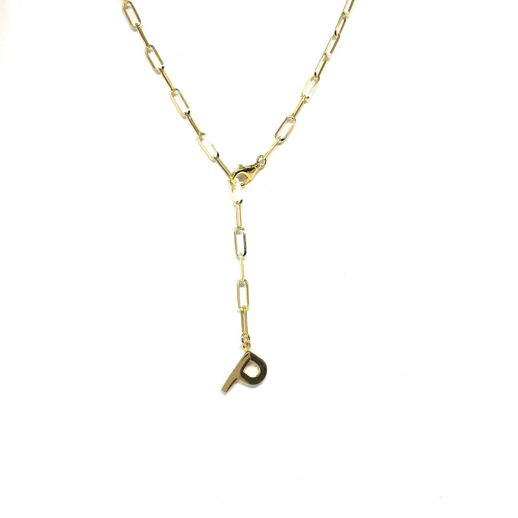 Initial P Lariat Necklace,Gold Plated Lariat Necklace,Topaz Jewelry