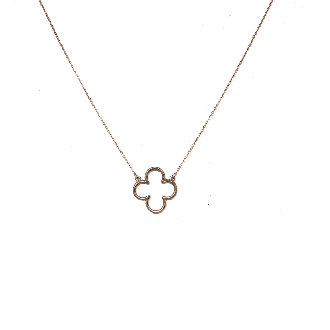 14K Rose Gold Clover Necklace - Topaz Jewelry