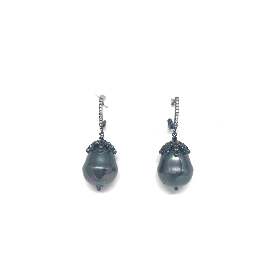 Grey Baroque Pearl Earrings - Topaz Custom Jewelry
