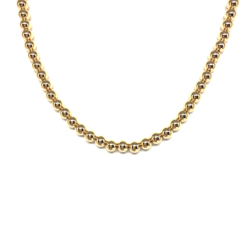 14K Gold Filled 5 mm Beads Necklace, Gold Balls Short Necklace, Topaz Jewelry
