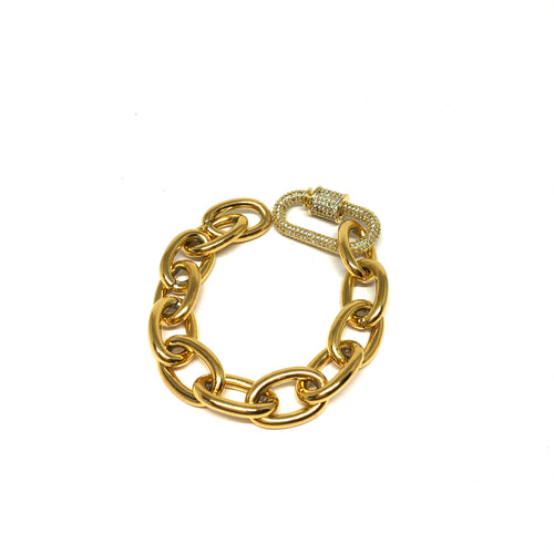 Stainless Steel Oval Links Small Bracelet, Gold Small Bracelet, Carabiner Clasp Oval Small Wrist Bracelet, Topaz Jewelry