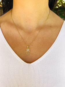 10K Gold Hamsa Necklace - Topaz Jewelry