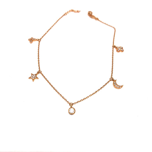 Rose Gold Anklet,Rose Gold Charms Anklet,Rose Gold Anklet Toronto,Topaz Jewelry