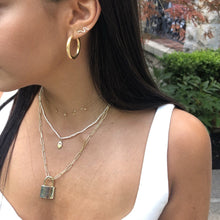 Load image into Gallery viewer, 4mm Gold Hoops,Thic Solid Gold Hoop Earrings,Topaz Jewelry