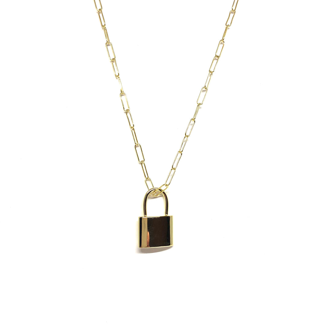Gold Lock Necklace,Padlock Necklace - Topaz Jewelry