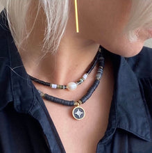 Load image into Gallery viewer, Black Beaded Necklace, Black Necklace Northern Star Pendent, Topaz Jewelry