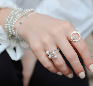 Diamonds Pearls Silver Ring,Sterling Silver Diamond Ring,Dainty Pearl Ring Topaz Jewelry