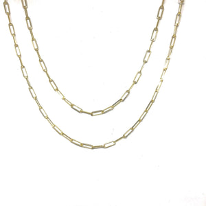 Gold Paper clip Chain - Topaz Custom Jewelry