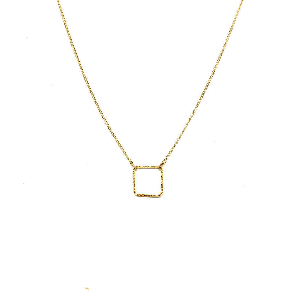 Open Square Necklace - Topaz Custom Jewelry