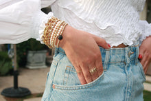 Load image into Gallery viewer, Gold Filled Pearls Bracelet,Gold Stretch Bracelet,Pearl Strtch Bracelet,Topaz Jewelry