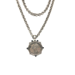 Silver French Medallion Necklace,Silver Coin Necklace, - Topaz Jewelry