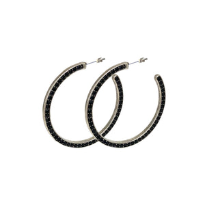 Black Crystal Hoop Earrings - Topaz Jewelry