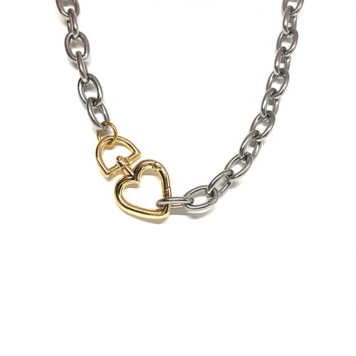 ChunkySilver Plated Links Necklace,Gold Heart Clasp,Statement Links Necklace Topaz Jewelry