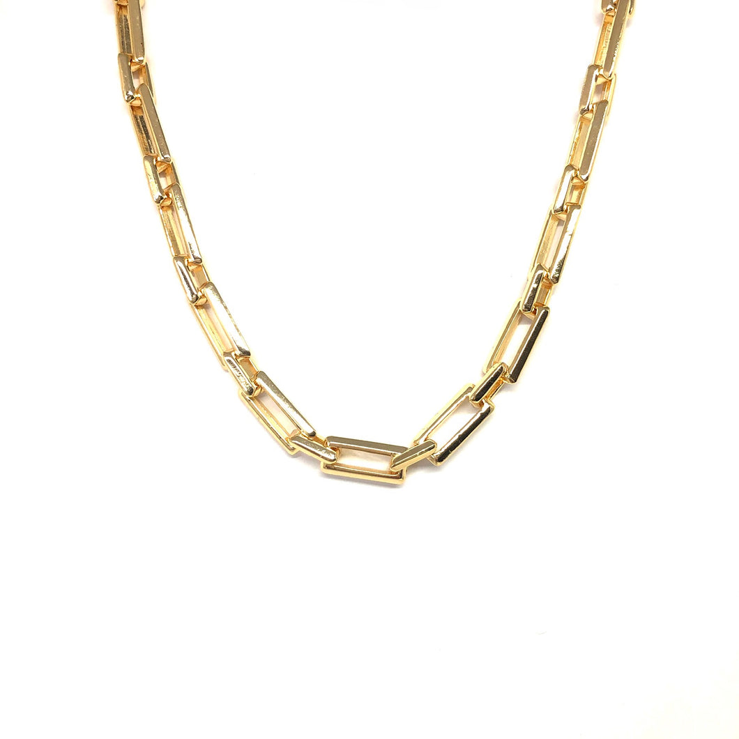 Gold Link Necklace,Gold Plated Rectangle Chain,Gold Link Chain Necklace,Topaz Jewelry