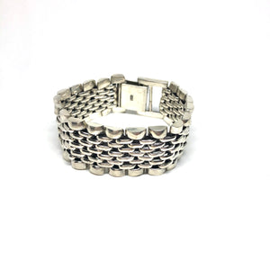 Sterling Silver Multi Layer Woven Link Bracelet, Topaz Jewelry