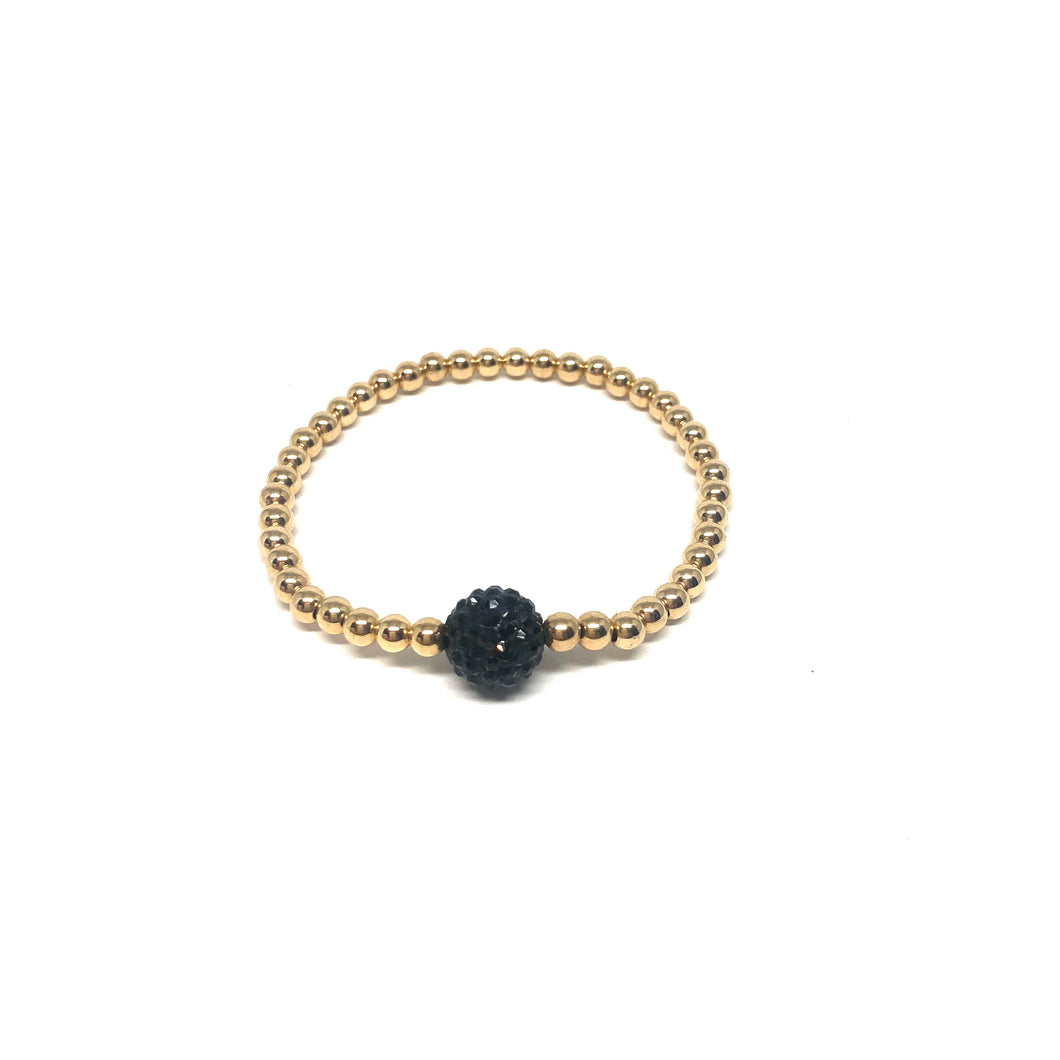 Gold Filled Stretch Bracelet,Black Pave Ball Strtch Bracelet,Black-Gold Stretch Bracelet,Topaz Jewelry