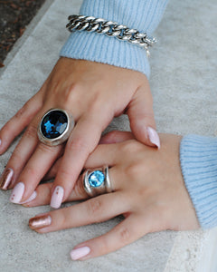 Large Chunky Blue Ring,Blue Statement Ring,Topaz Jewelry