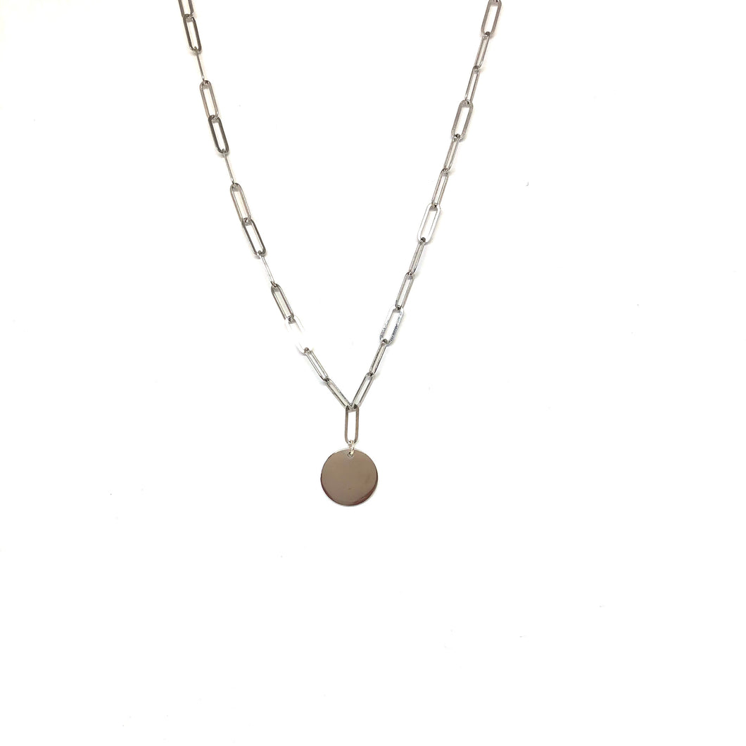 Sterling Silver Paperclip Chain Disc Necklace,Topaz Jewelry