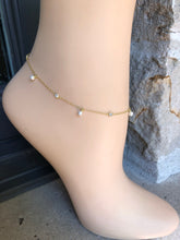 Load image into Gallery viewer, Pearl Anklet,Dainty Gold Pearls Anklet,Topaz Jewelry