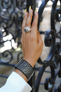 Black Statement Cuff,Suede Black Cuff - Topaz Jewelry