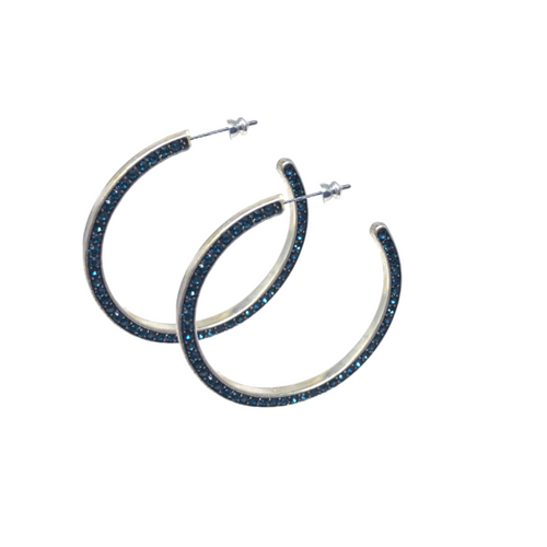 Blue Crystal Hoop Earrings - Topaz Custom Jewelry