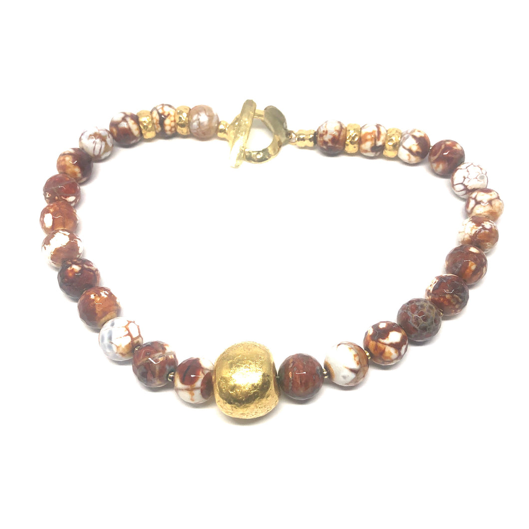 Brown Marble Agate Necklace - Topaz Custom Jewelry