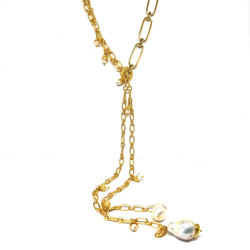 Gold Lariat Necklace,Pearls Lariat Necklace - Topaz Jewelry