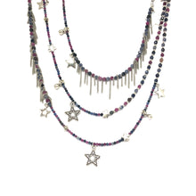 Load image into Gallery viewer, Pink Blue Sapphire Stars Necklace - Topaz Jewelry