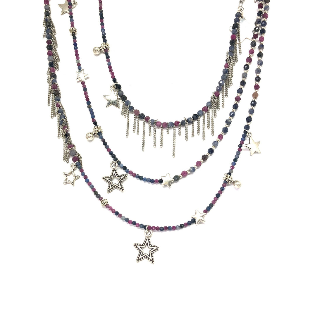Pink Blue Sapphire Stars Necklace - Topaz Jewelry