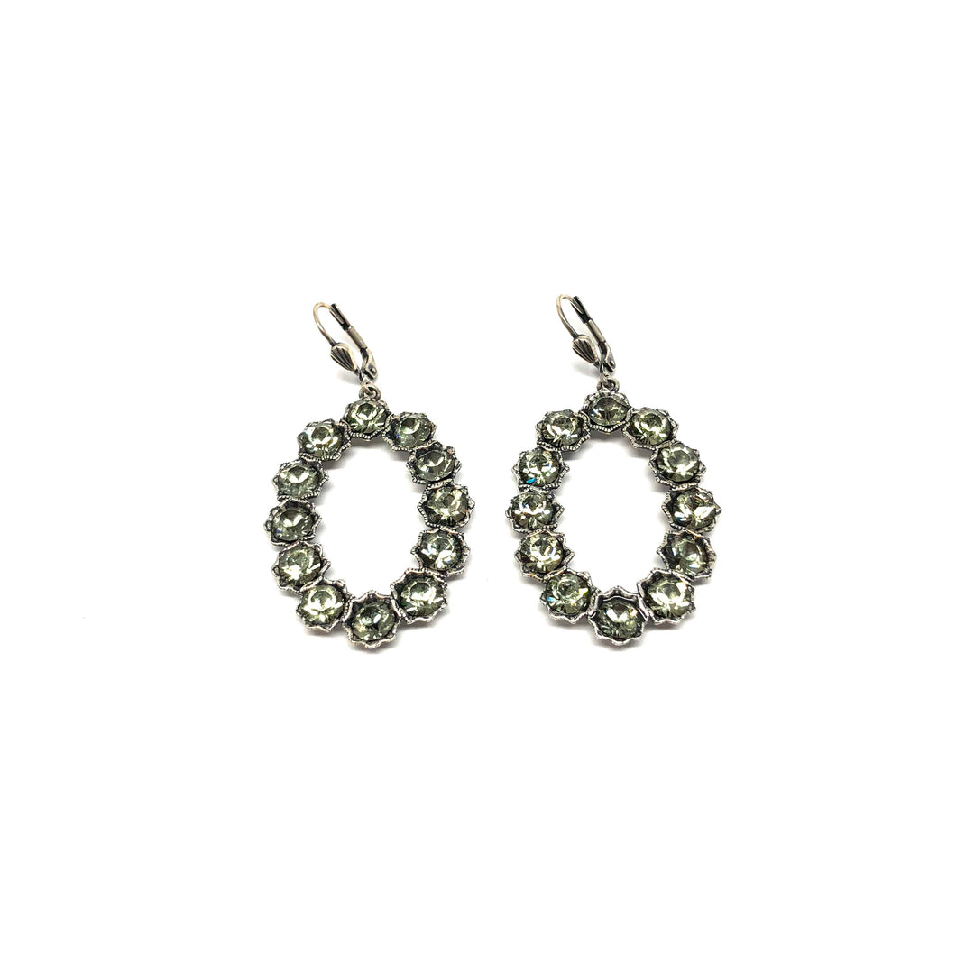 Oval Grey Crystal Earrings - Topaz Jewelry