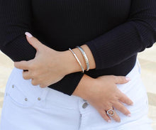 Load image into Gallery viewer, Sterling Silver Thin Bamboo Cuff, Designers Inspired Silver Cuff, Topaz Jewelry