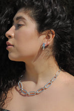 Load image into Gallery viewer, Silver Plated Oval Link Chain Necklace,Topaz Jewelry