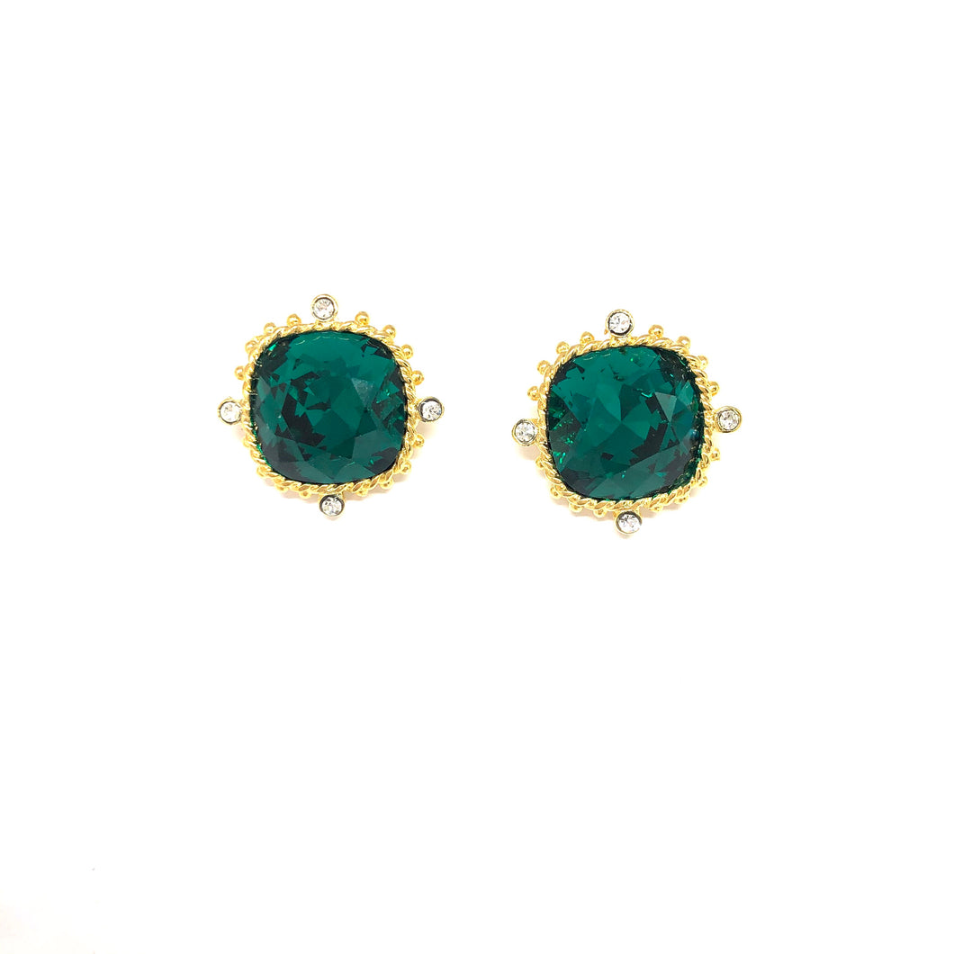 Green Post Earrings,Large Green Studs,Earrings Toronto, Topaz Jewelry